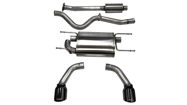 Corsa Performance 14864BLK | CORSA Scion FRS Cat-Back Exhaust Coupe 2.0L Sport - 2.5 Inch Dual Rear Exit with Single 4.5 Inch Black Pro-Series Tips; 2012-2016