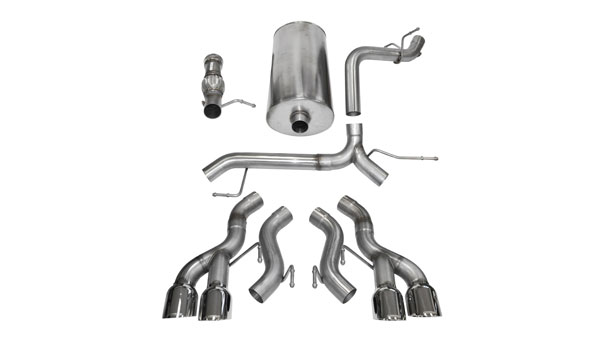 Corsa Performance 14886 | CORSA Cadillac Escalade Cat-Back Exhaust DUB 6.2L V8 Sport - 3 Inch Dual Rear Exit with Twin 4.5 Inch Polished Pro-Series Tips; 2012-2014