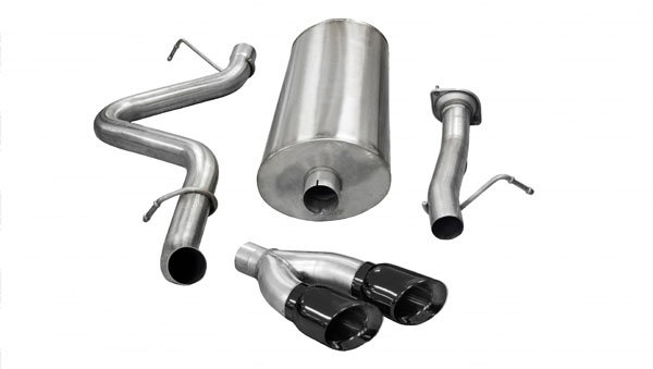 Corsa Performance 14896BLK | CORSA Silverado 2500 Cat-Back Exhaust Extended Cab/Long Bed 6.0L V8 Sport - 3 Inch Single Side Exit with Twin 4 Inch Black Pro-Series Tips; 2007-2010