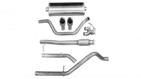 Corsa Performance 14902 | Corsa Chevrolet Silverado 2009-2011 Reg.Cab/Long Bed 133 WB 4.8L & 5.3L Cat-back System: Dual Rear Exit w/single 4 Pro-Series Tips - Sport Edition
