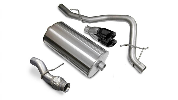 Corsa Performance 14913BLK | CORSA Tahoe Cat-Back Exhaust 5.3L V8 Touring - 3 Inch Single Rear Exit with Twin 4 Inch Black Pro-Series Tips; 2009-2014