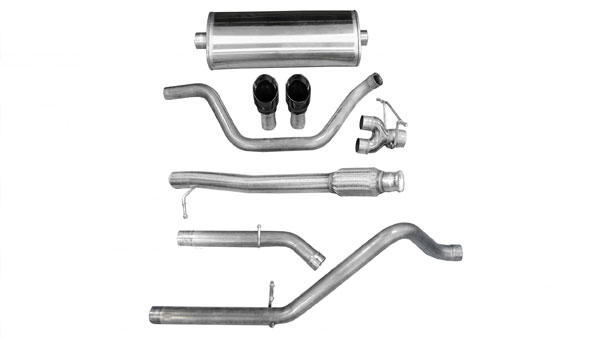 Corsa Performance 14921BLK | CORSA Silverado Cat-Back Exhaust 1500 Regular Cab/Standard Bed 4.8L V8 Sport 2009 - 2013 3 Inch Dual Rear Exit with Single 4 Inch Black Pro-Series Tips