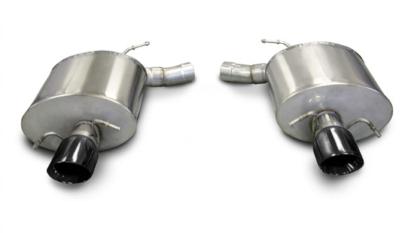 Corsa Performance 14941BLK | CORSA Cadillac CTS Axle-Back Exhaust V Sedan 6.2L V8 Sport - 2.5 Inch Axle-Back, Dual Rear Exit with Single 4 Inch Black Pro-Series Tips; 2009-2014