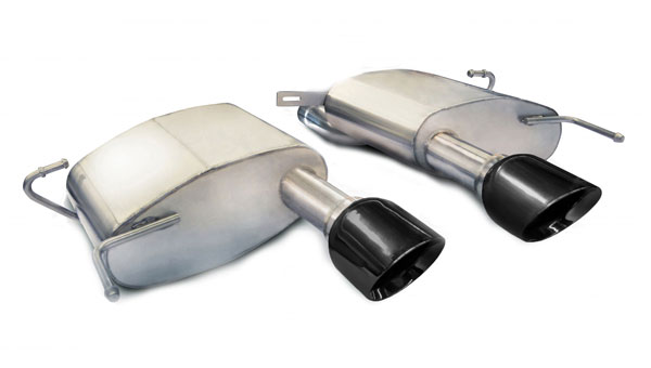 Corsa Performance 14942BLK | CORSA Cadillac CTS Axle-Back Exhaust V Coupe 6.2L V8 Sport - 2.5 Inch Axle-Back, Dual Center Rear Exit with Single 4.5 Inch Black Pro-Series Tips; 2011-2014