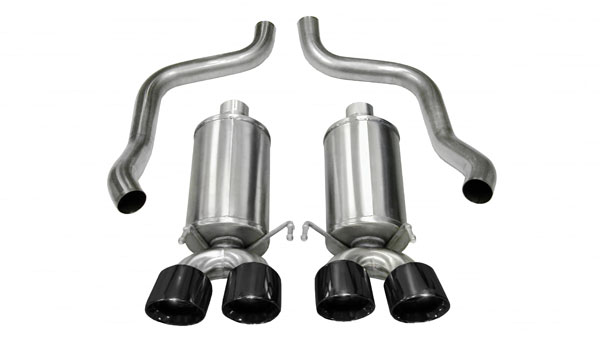 Corsa Performance 14959BLK | CORSA Corvette Axle-Back Exhaust C6 6.2L V8 Xtreme - 2.5 Inch Axle-Back, Dual Rear Exit with Twin 4 Inch Black Pro-Series Tips; 2009-2013