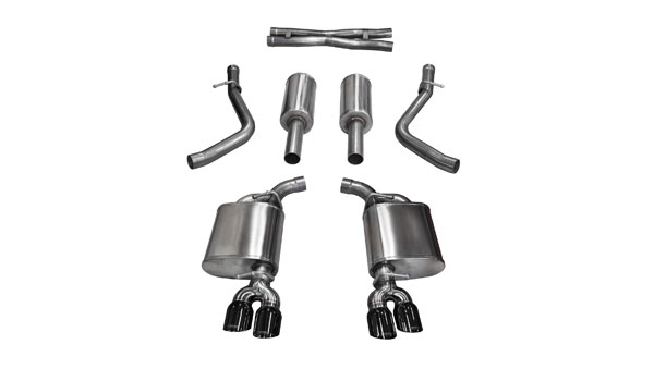 Corsa Performance 14986BLK | Corsa Challenger R/T 5.7L Sport Cat-Back with Dual Rear Exit and Twin 3.5 Black Tips; 2015-2017