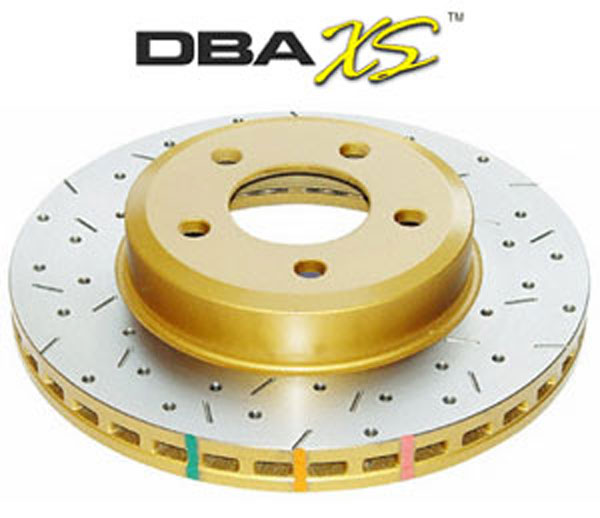 DBA Brakes (DBA42114XS) DBA 4000 XS Brake Rotor: 2005-09 Ford Mustang GT Drilled & Slotted Rear(each) V8