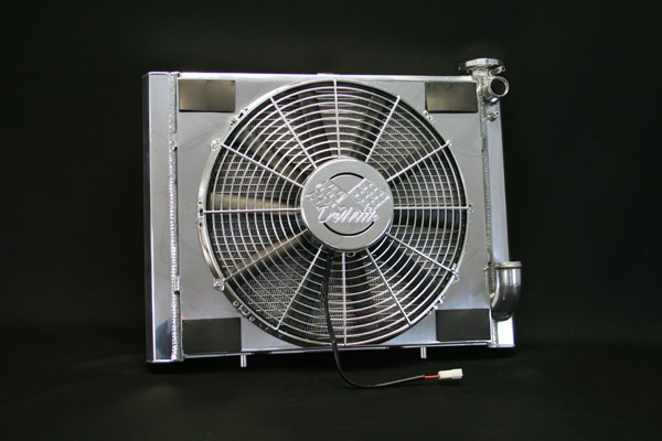 DeWitts 6339063MC |  LSX Conversion Radiator Corvette SB CF, Polished, Chrome Fans; 1963-1972