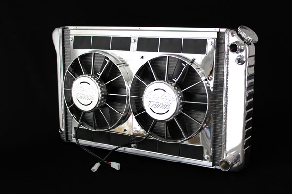 DeWitts 6339021MC |  LSX Conversion Radiator FIREBIRD SB / BB CF, Polished, Chrome Fans; 1970-1981