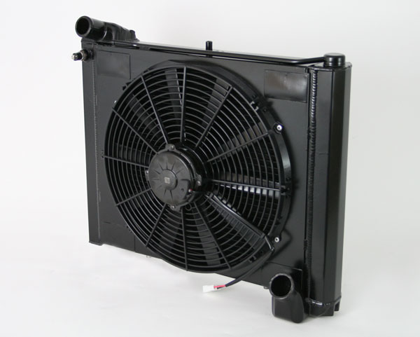 "DeWitts 4239061M |  Radiator and Fan Corvette, CF Manual 2 row 1"" Tube, Single 16"" Spal Fan &, Black Ice; 1961-1962"