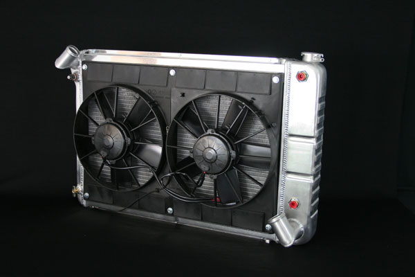 """DeWitts 4139066A    Radiator and Fan Corvette, BB Auto. 2 row 1"""" Tube, Dual 11"""" Fans and, Natural; 1966-1967"""