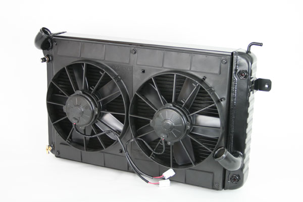 "DeWitts 4239025A |  Radiator and Fan Corvette BB size in SB mounts, Dual 11"" Spal Fans, Black Ice; 1966-1967"