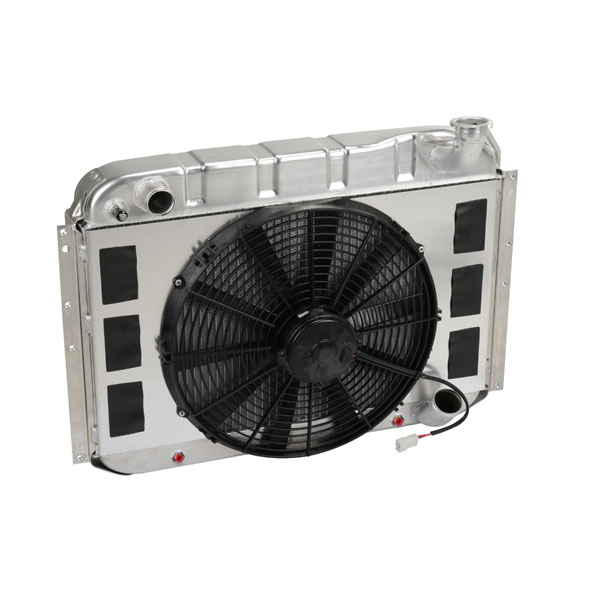 "DeWitts 4139055A |  Radiator and Fan Corvette, DF Auto., Single 16"" Spal Fan &, Natural; 1955-1957"
