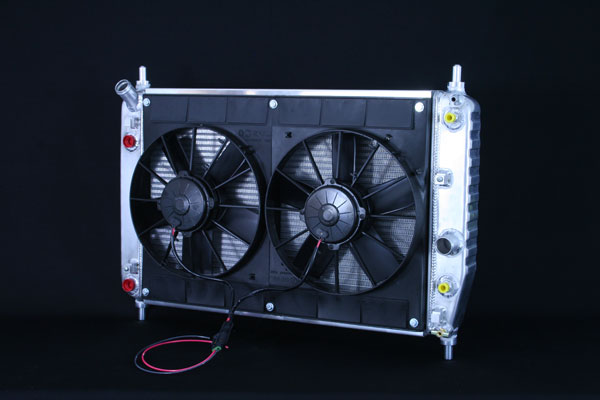 "DeWitts 4139105B | Radiator and Fan Corvette, with trans & oil cooler, Dual 11"" Spal Fans, Natural; 2005-2013"