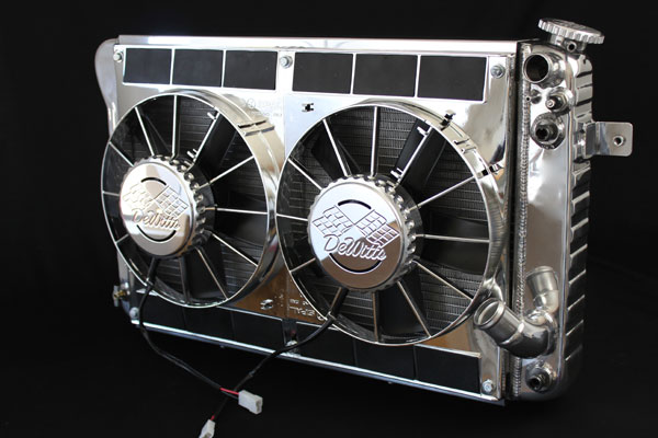 DeWitts 6339025AC | LSX Conversion Radiator Corvette MOD. CF, Polished, Chrome Fans; 1966-1967