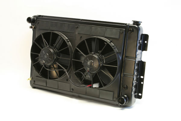 "DeWitts 4239022A |  Radiator and Fan Camaro BB, 23.5"" Core CF, Auto, Dual 11"" Spal Fans, Black Ice; 1967-1969"