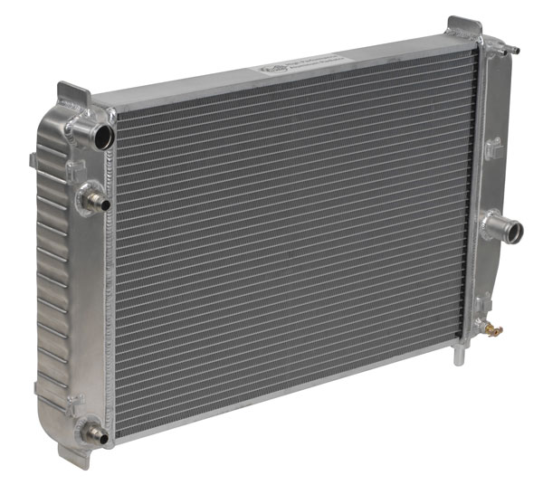 "DeWitts 1139097B |  Direct Fit Radiator Corvette, Double Core 2 row 1"" Tube with trans & oil cooler, Natural; 1997-2000"