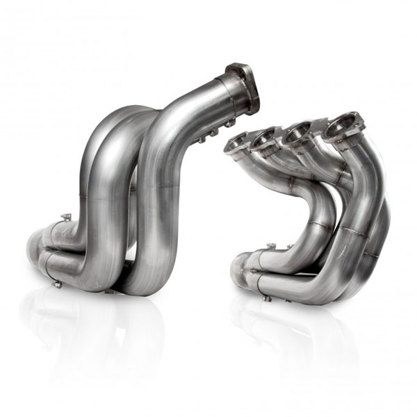 Stainless Works DNBBC225:  Downswept BBC Dragster Header 2-1/4'' primaries with 4'' merge style slip on collectors