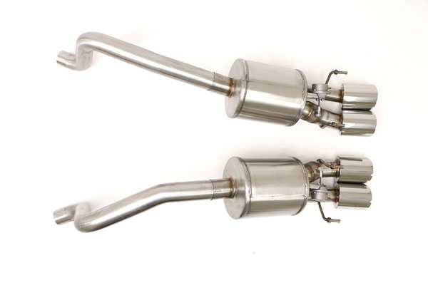 B&B Billy Boat Exhaust FCOR-0564:  Billy Boat Corvette Fusion Exhaust 2009-13 C6 Quad Round Tips for Factory NPP