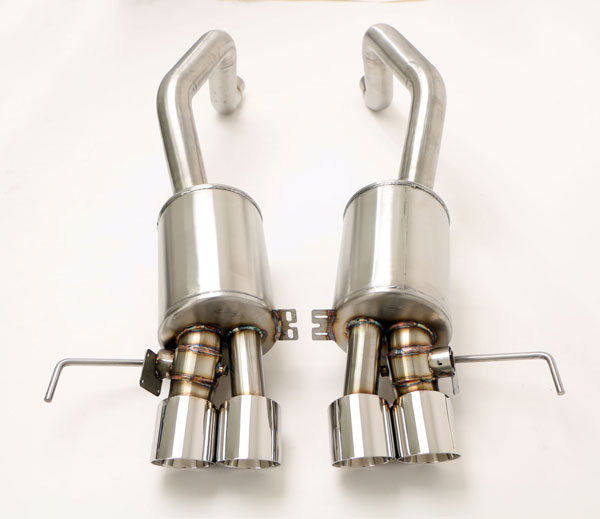 B&B Billy Boat Exhaust FCOR-0675: Billy Boat Corvette Exhaust C7 Z06 Gen. 3 Fusion 4'' Quad ROUND Double-Wall Tips