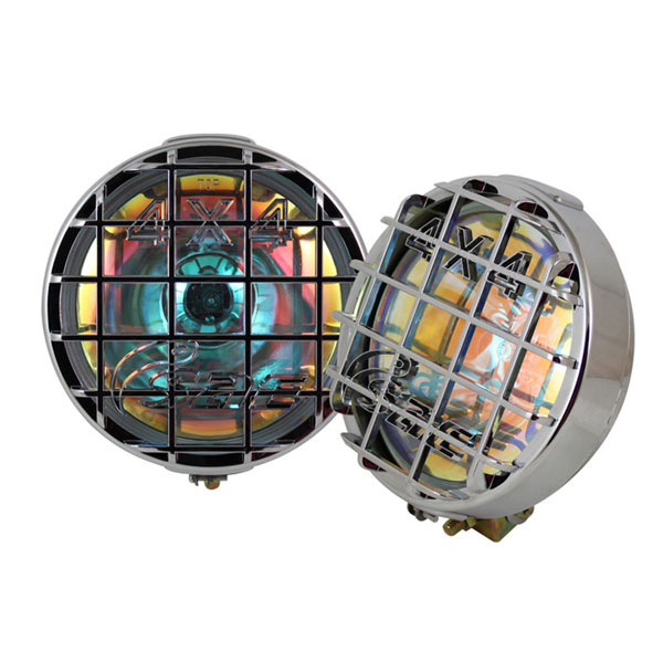 xTune FL-CH-8107C-RB:  Universal Laser 4x4 6.5 Inch Fog Lights Chrome Housing W/Switch - Rainbow Blue