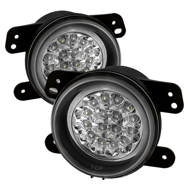 Spyder FL-LED-DM05-C:  Jeep Wrangler 07-09 LED Fog Lights - Clear