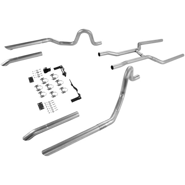 Flowmaster 17107:  64-72 GM A-Body V8 All 2.50 Tubing From Trans X-Member Back, Dual Out Rear