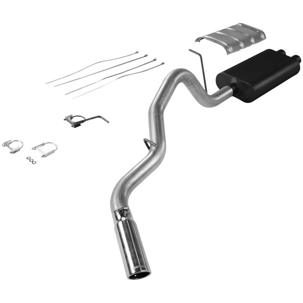 Flowmaster 17325:  99-02 Chevy Silverado GMC Sierra 2500 (Not-HD) 6.0L EC/SB American Thunder Exhaust System, Single Out Side