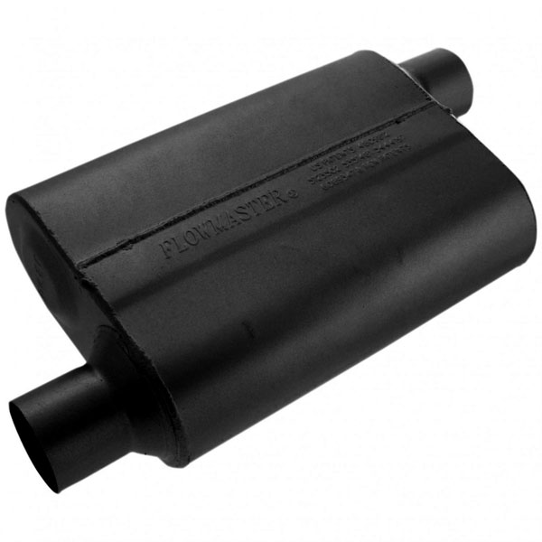 Flowmaster 42543:  Muffler 40 Series 2.50 Offset IN / 2.50 Offset OUT - Aggressive Sound
