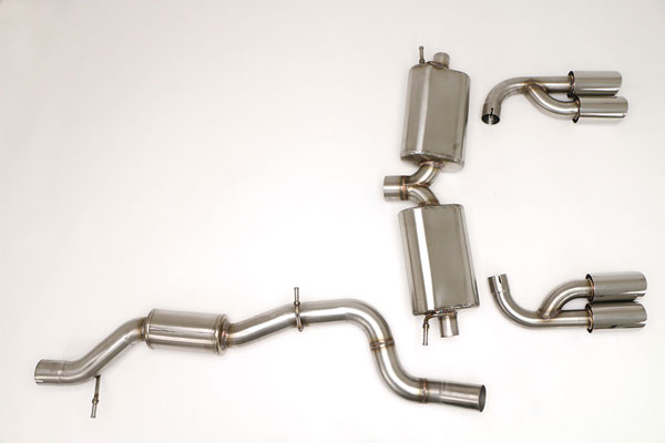 "B&B Billy Boat Exhaust FPIM-0466 | B&B Billy Boat Exhaust Billy Boat Audi S3 Exhaust System Quattro Catback (Quad Tip) 4.5"" Quad OVAL Double Wall Tips; 2015-2016"
