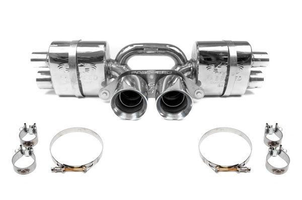 Fabspeed FS.POR.991GT3.CMAXB | Porsche 991 GT3 / GT3 RS Center Mini Maxflo Performance Exhaust System with Satin Black Tips; 2014-2016