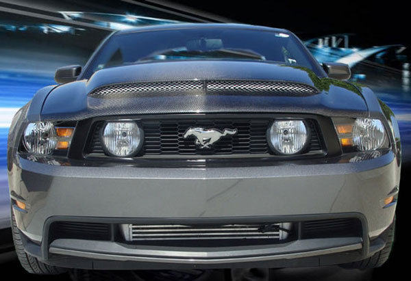 BMC Extreme Customs (GTV6MAMBAII-CF) BMC 2010-2012 Ford Mustang Carbon Fiber Black Mamba II Ram Air Hood (GT/V6)