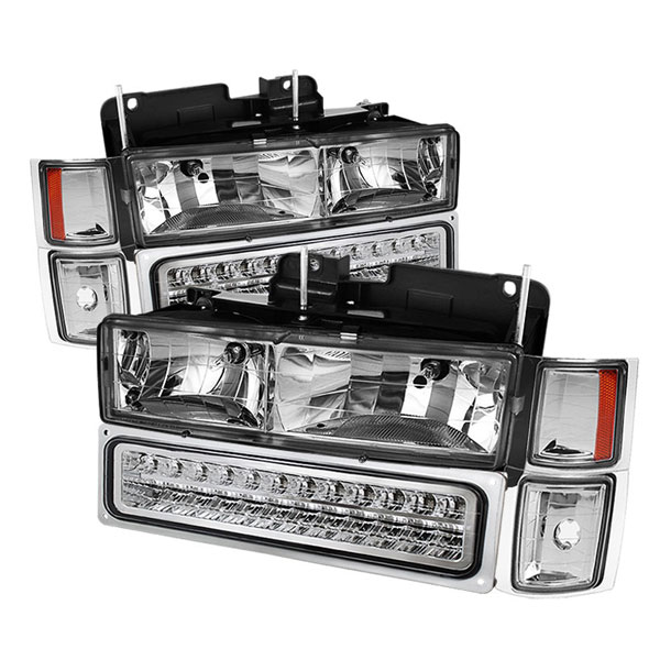xTune HD-JH-CCK88-LED-AM-C-SET:  94-98 Chevrolet C/K C/10 1500/2500/3500/92-99 Tahoe/92-99 Suburban/94-98 Silverado/92-94 Blazer Full Size (Wont Fit Seal Beam Headlights) Corner/LED Bumper Headlights - Chrome