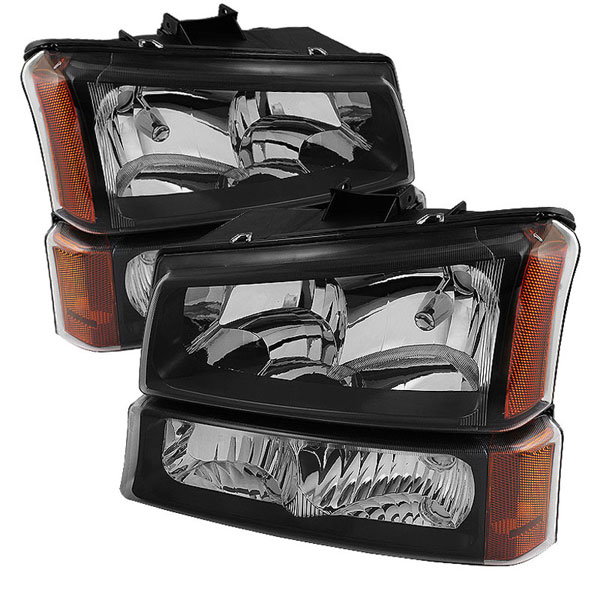 xTune HD-JH-CSIL03-AM-BK-SET:  Chevrolet Silverado 1500/2500/3500 03-06 / Chevrolet Silverado 1500HD 03-07 / Chevrolet Silverado 2500HD 03-06 Crystal Headlights W/ Bumper Lights - Black