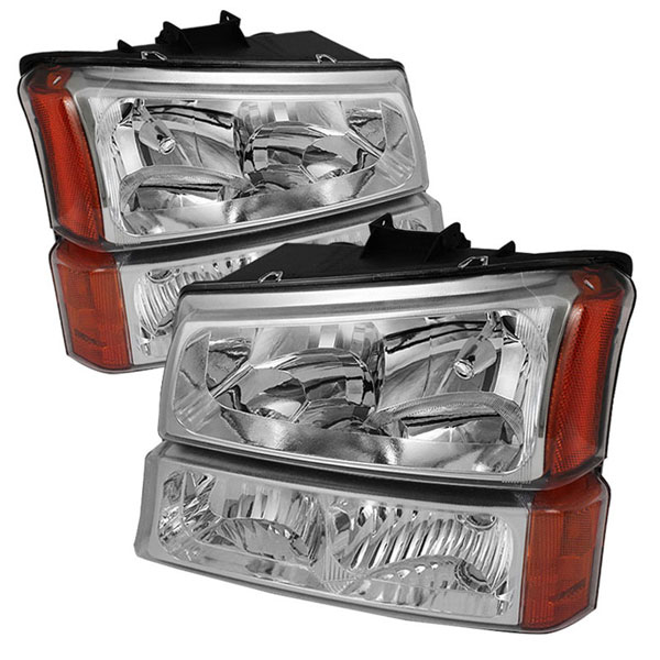 xTune HD-JH-CSIL03-AM-C-SET:  Chevrolet Silverado 1500/2500/3500 03-06 / Chevrolet Silverado 1500HD 03-07 / Chevrolet Silverado 2500HD 03-06 Crystal Headlights W/ Bumper Lights - Chrome