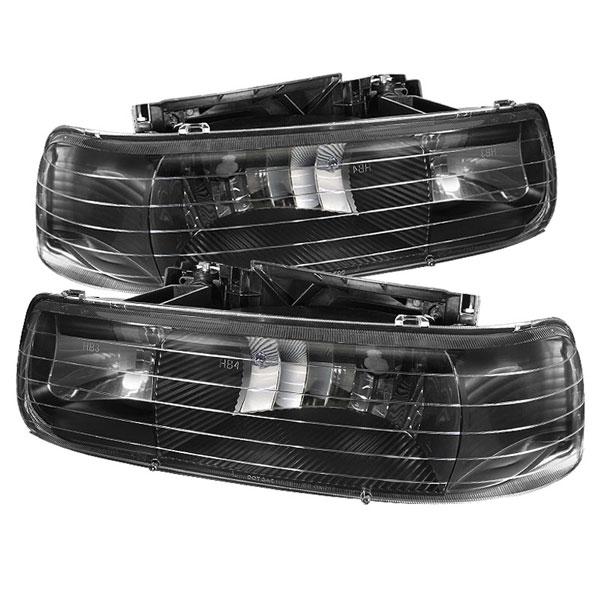 xTune HD-JH-CSIL99-BK |  Chevrolet Silverado 3500 1500/2500 / Chevrolet Silverado 3500 / Chevrolet Suburban 1500/2500 / Chevrolet Tahoe Amber Crystal Headlights - Black; 2000-2006