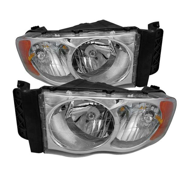 xTune HD-JH-DR02-AM-C |  Dodge Ram 1500 Amber Crystal Headlights - Chrome; 2002-2005