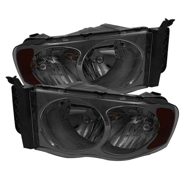 xTune HD-JH-DR02-AM-SM |  Dodge Ram 1500 Amber Crystal Headlights - Smoke; 2002-2005