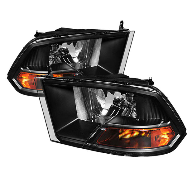 xTune HD-JH-DR09-AM-BK |  Dodge Ram 1500 ( Non Quad Headlights ) Crystal Headlights - Black; 2009-2012