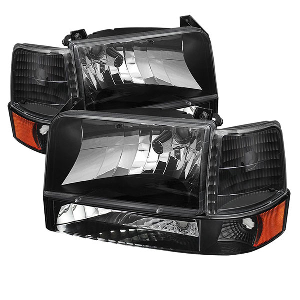 xTune HD-JH-FB92-SET-AM-BK |  Ford F150 92-96 Headlights w/Corner Bumper 6pcs Amber- Black