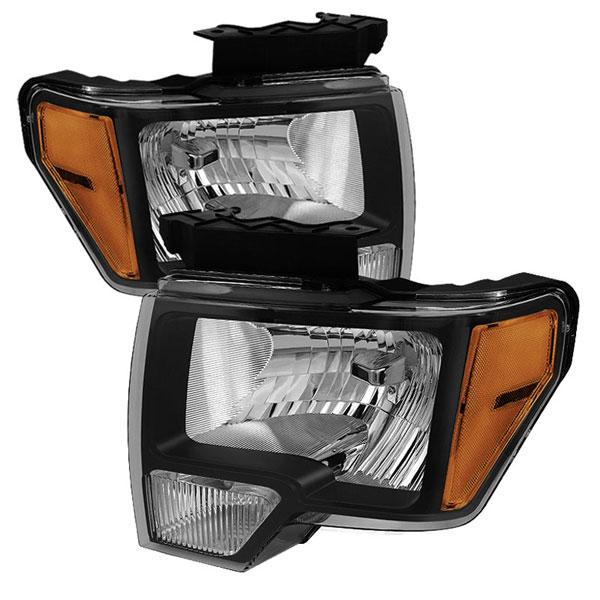xTune HD-JH-FF15009-AM-BK |  Ford F150 Amber Crystal Headlights - Black; 2009-2012