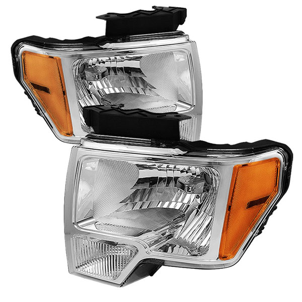 xTune HD-JH-FF15009-AM-C |  Ford F150 09-12 Amber Crystal Headlights - Chrome