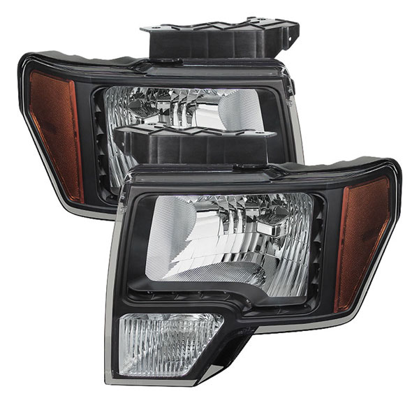 xTune HD-JH-FF15009-LED-AM-BK |  Ford F150 Amber Crystal LED Headlights - Black; 2009-2012