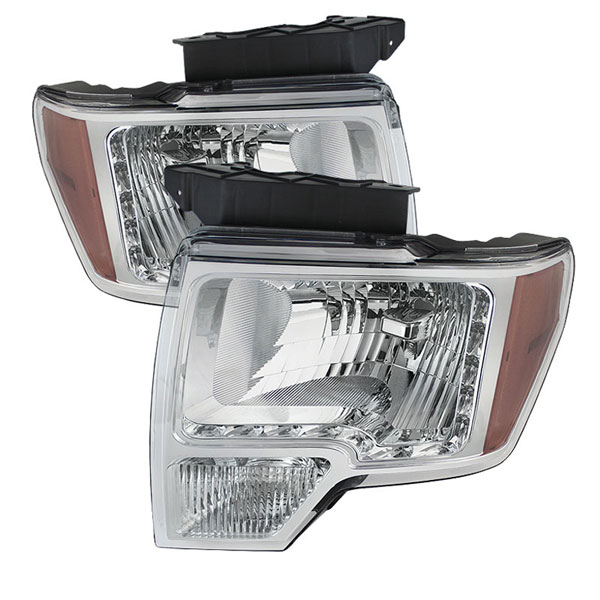 xTune HD-JH-FF15009-LED-AM-C:  Ford F150 09-12 Amber Crystal LED Headlights - Chrome