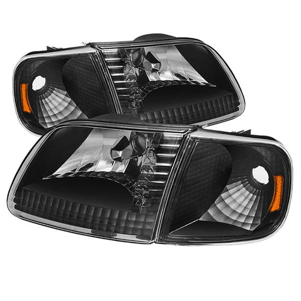 xTune HD-JH-FF15097-SET-AM-BK |  Ford F150 / Expedition Crystal Headlights w/Corner - Chrome; 1997-2003