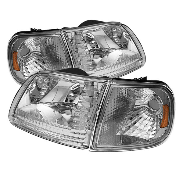 xTune HD-JH-FF15097-SET-AM-C |  Ford F150 / Expedition Crystal Headlights w/Corner - Chrome; 1997-2002