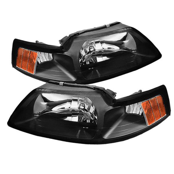 xTune HD-JH-FM99-AM-BK    Ford Mustang OEM Amber Headlights - Black; 1999-2004