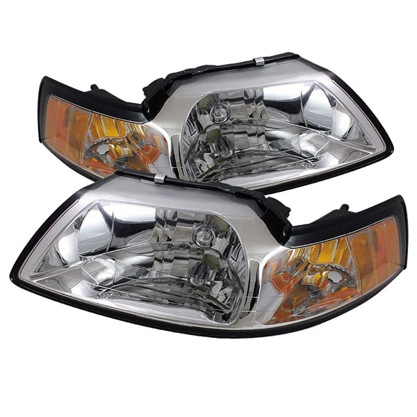 xTune HD-JH-FM99-AM-C |  Ford Mustang Amber Crystal Headlights - Chrome; 1999-2004