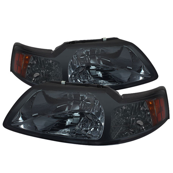 xTune HD-JH-FM99-AM-SM |  Ford Mustang Amber Crystal Headlights - Smoke; 1999-2004