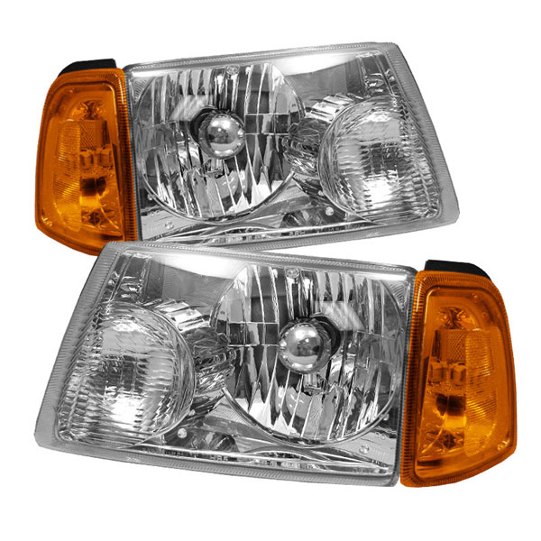 xTune (HD-JH-FR01-AM-C-SET)  Ford Ranger 01-08 Amber Crystal Headlights W/ Corner Lights - Chrome